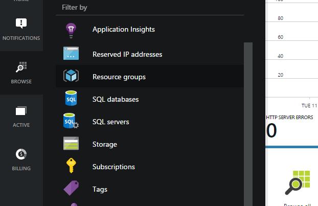 Microsoft Azure Menu