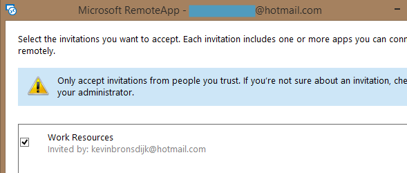 RemoteApp Azure Invitation