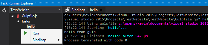 run gulp in visual studio