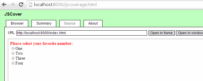 JS Cover GUI manual test
