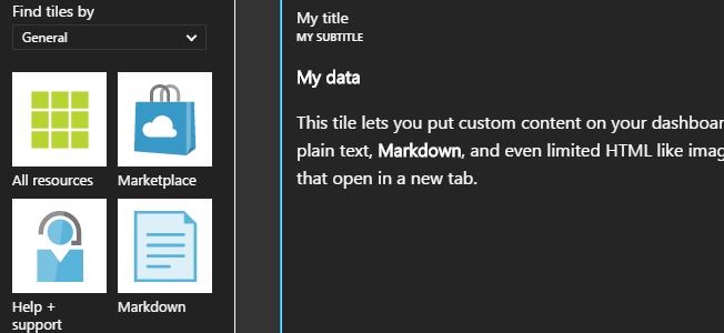 Azure Portal - Add Markdown component